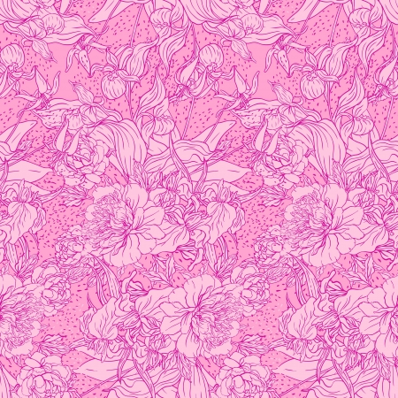 Seamless pink pattern with peonies  Vector