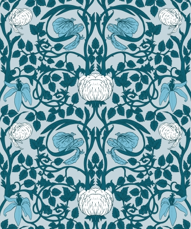 morris: Floral vintage seamless pattern for retro wallpapers Illustration