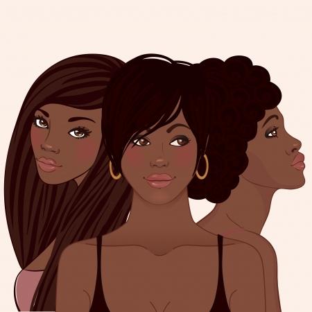 Trois jeunes jolies femmes africaines amerivan avec différentes coiffures Vecteurs