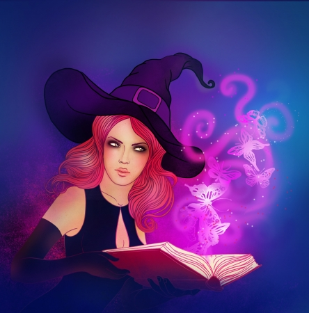 emerged: Young beautiful witch holding a magic book from which emerged a butterfly Stock Photo