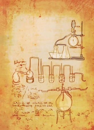 measured: Old chemistry laboratory background in vintage style