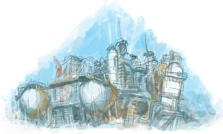 catalytic: Factory, watercolor illustration