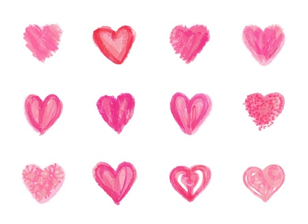 Abstract watercolor hearts set  Stock Photo - 16506459