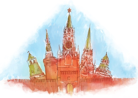 Russia: Moscow Kremlin, watercolor  illustration  Stock Illustration - 16506492