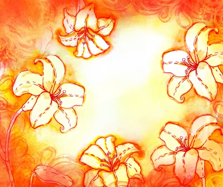 lilia: Amazing lily watercolor background in red and yellow