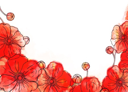 Red watercolor poppy background on white Stock Photo - 16506490