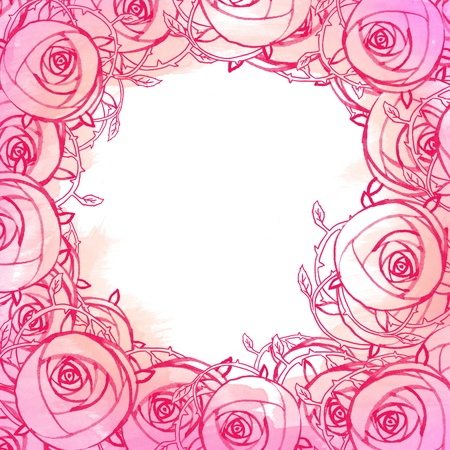 Watercolor background with three pink roses  photo
