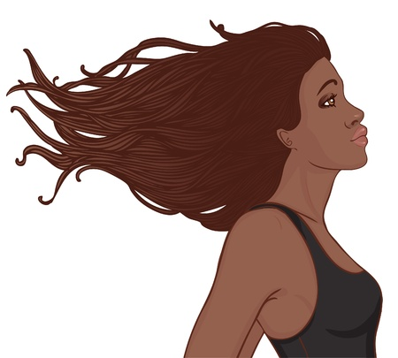 dark skin: Beauty Salon Set  Profile of pretty young african american woman with beautiful long hair  Vector illustration  Illustration