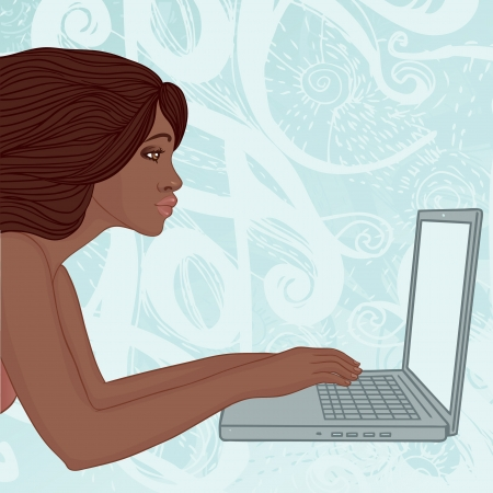 Young african american woman reads the love message on a laptop  Vector
