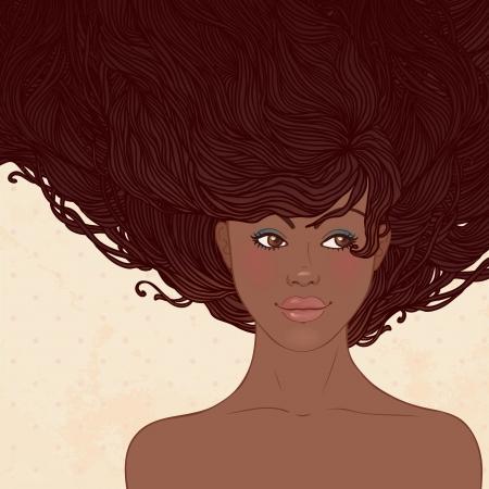 african woman face: Salone di bellezza abbastanza giovane donna afroamericana con bei capelli lunghi illustrazione vettoriale