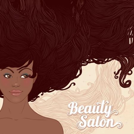 african woman face: Salone di bellezza: abbastanza giovane donna afroamericana con i bei capelli lunghi. Illustrazione vettoriale