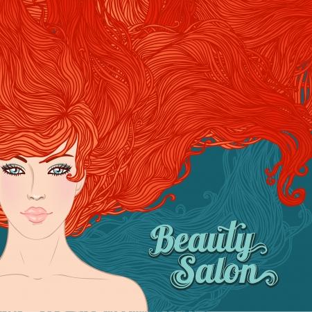 Salón de belleza: Mujer bonita joven con hermosos cabellos rojos aislados en blanco. Ilustración vectorial