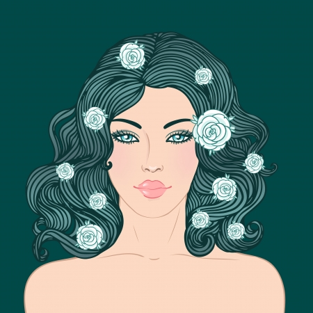 dark hair: Sal�n de belleza: Mujer bonita joven con un hermoso cabello rojo oscuro aislado en ilustraci�n negro