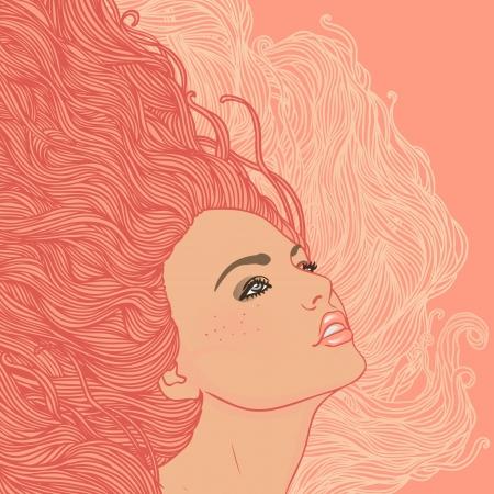 Salón de belleza: Retrato de la mujer bonita joven en vista de perfil ondulado ilustración pelo rojo.