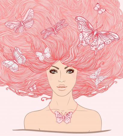 beauty salon face: Beautiful white girl with butterflies in her long pink hair illustration.  Illustration