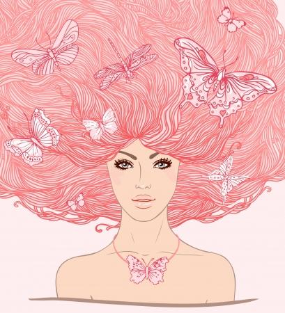 visage: Ni�a blanca hermosa con las mariposas en su ilustraci�n largo cabello de color rosa. Vectores