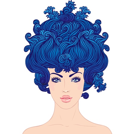 Fantasy baroque princess: young beautiful girl with blue big hair in Marie Antoinette style. Stock Vector - 16792165