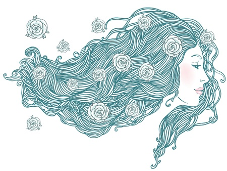 Beauty Salon: Portrait of pretty young woman in profile view with long beautiful hair illustration