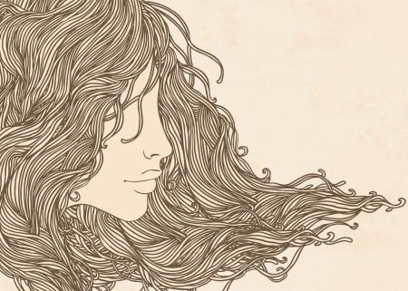 bocetos de personas: Sal�n de belleza Vintage: Retrato de la mujer bonita joven en vista de perfil con el pelo largo y hermoso ilustraci�n.