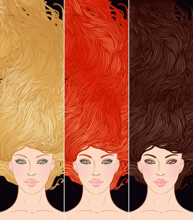 Beauty Salon  Set of portraits of pretty young woman with beautiful  hair  blonde, brunette and redhead girl illustration Stock Vector - 16792331