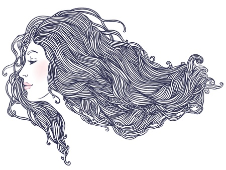 Beauty Salon  Portrait of pretty young woman in profile view with long beautiful hair illustration Stock Vector - 16792157