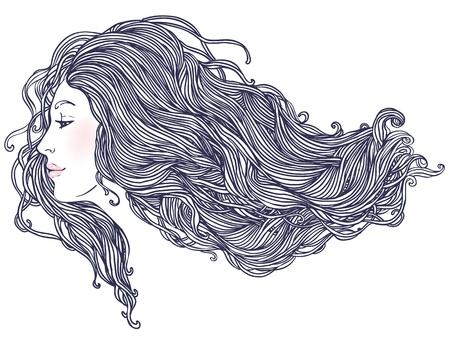 Ritratto del salone di bellezza della giovane donna graziosa nella vista di profilo con l'illustrazione lunga dei bei capelli