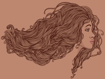 Beauty Salon  Portrait of pretty young african american woman in profile view with long beautiful hair illustration Vector