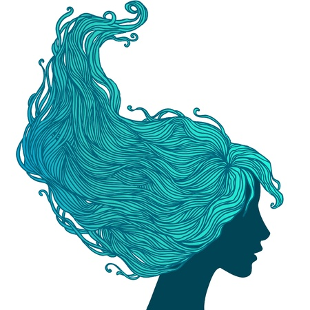 Beauty Salon  Portrait of pretty young woman in profile view with long beautiful hair illustration Vector