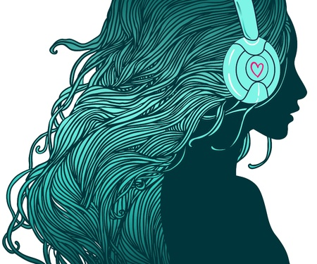 dj headphones: DJ girl  Profile of pretty girl with long hair in headphones  Illustration
