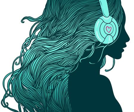 DJ perfil de chica joven bonita con el pelo largo en los auriculares