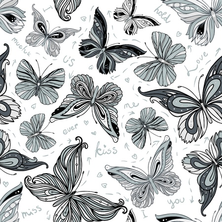 Seamless vintage black and white patterned butterfly background, vector illustration Stock Vector - 16918093
