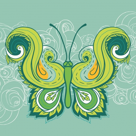 Paisley butterfly  Hand-Drawn ornate vector illustration design element Stock Vector - 16918097