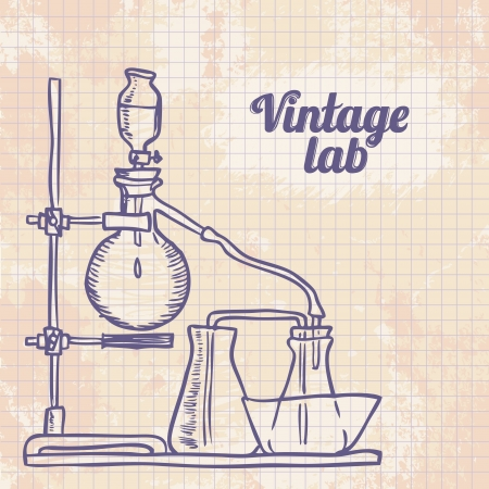 distillate: Old chemistry laboratory vector background in vintage style