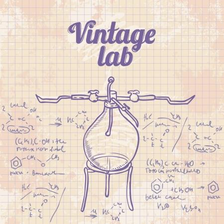 material de vidrio: Antiguo laboratorio de qu?ca de vectores de fondo en el estilo vintage Vectores