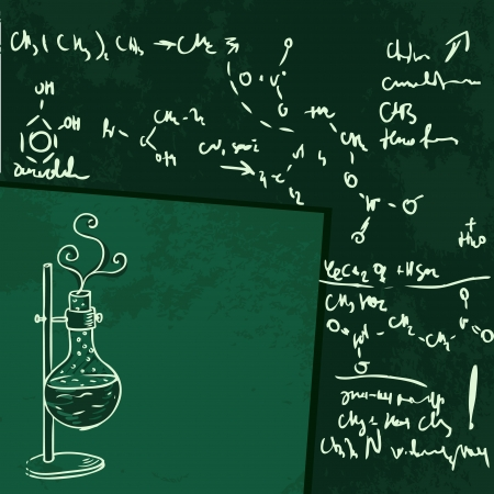 evaporation: Old chemistry laboratory vector background in vintage style
