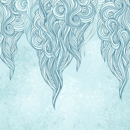 papel tapiz turquesa: Elegante invierno hielo azul vector rizado de fondo con olas