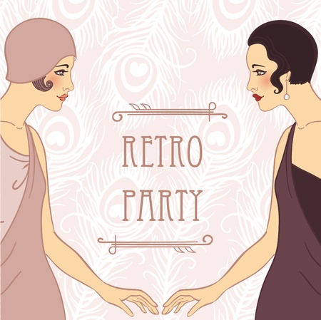 flapper: Flapper girls set: retro party invitation design in 20s style (two ladies holding hands)