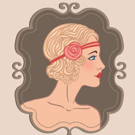 30s: Flapper girls set: retro party invitation design in 20s style  Illustration