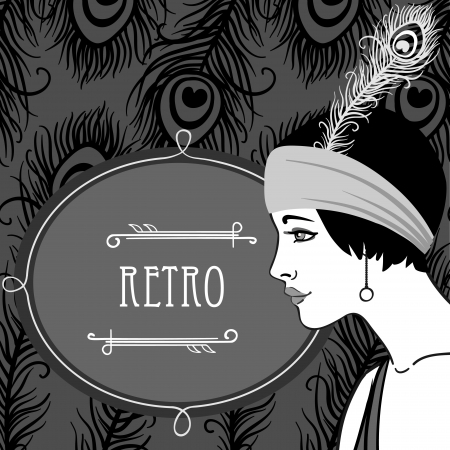 Flapper girls set: retro party invitation design in 20s style  Vector