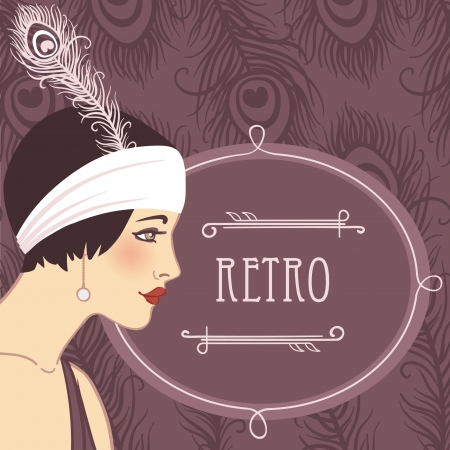 Retro fashion party (20s style) design: flapper girls profile Vector