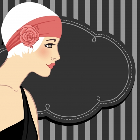 Flapper girls set: retro party invitation design in 20's style  Vector