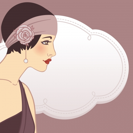 flapper: Flapper girls set: retro party invitation design in 20s style  Illustration