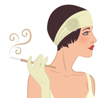sigaretta: Ragazze flapper impostati: giovane bella donna del 1920. Vintage stile illustrazione vettoriale isolato su bianco.