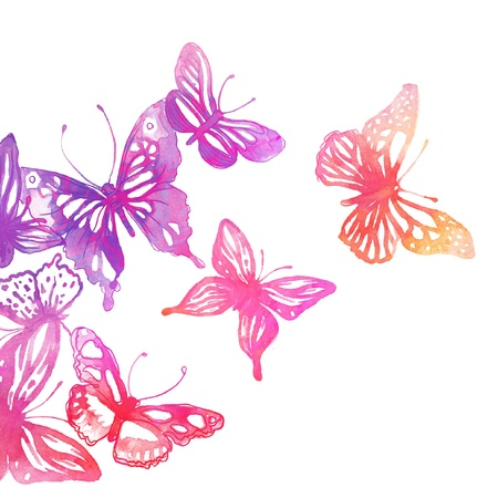 watercolor flower: Amazing background with butterflies and flowers painted with watercolors Stock Photo