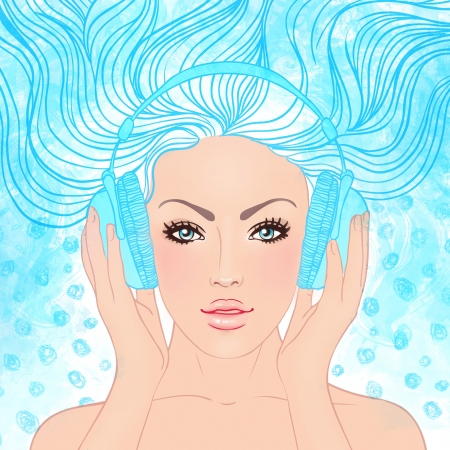 illustration of dreaming beautiful girl listening music in headphones.  illustration