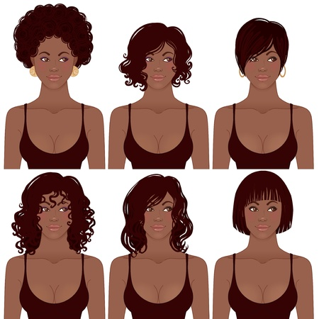 Vector illustratie van Black Women Faces. Ideaal voor Avatar, kapsels van de Afro-Amerikaanse vrouwen. Stock Illustratie