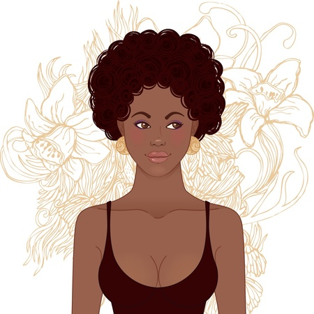 plait: African American Girl Face. Vector illustration.  Illustration