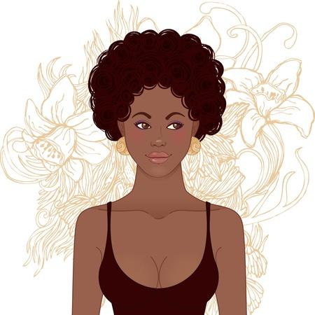 African American Girl Face. Vector illustration. Stock Vector - 20394084