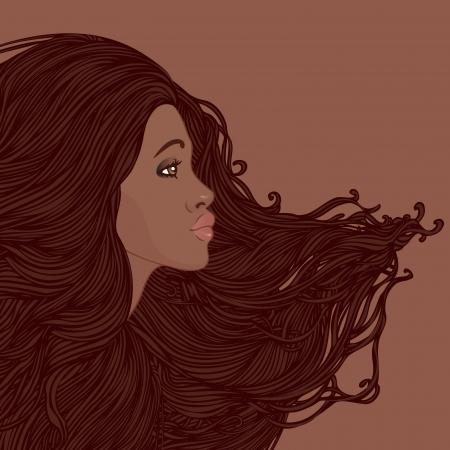 Beauty Salon Set: Profiel van mooie jonge Afro-Amerikaanse vrouw met mooie lange haren. Vector illustratie