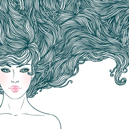 Spa Beauty: Beautiful woman with long hair in lines, background  Vector